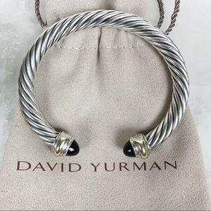 David Yurman Cable Two-Toned & Onyx Cuff Bracelet